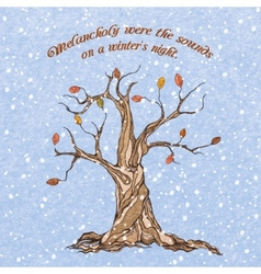 Winter tree poster vector image vector image
