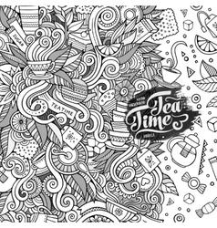 Cartoon cute doodles hand drawn tea frame design vector image