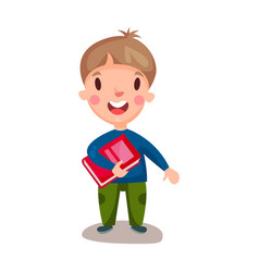 cute happy boy standing and holding book vector image