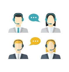 Icons set male and female call center avatars in a vector