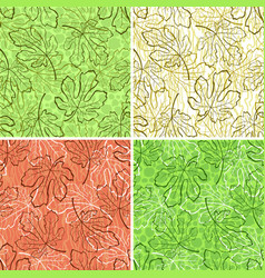 seamless backgrounds fig leaves vector image