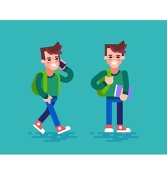 Student in different poses Cartoon character vector image vector image