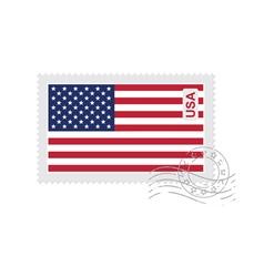 us flag old postage stamp vector image vector image