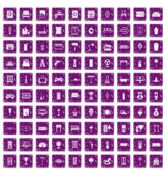 100 home icons set grunge purple vector