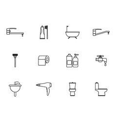 12 outline bathroom icons set vector image