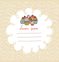 32 card with cupcakes on a background with hand vector