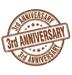 3rd anniversary brown grunge stamp vector