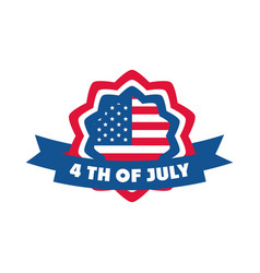 4th july independence day american flag badge vector