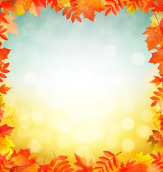 Autumn red leaves border vector