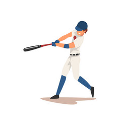 baseball player swinging bat softball athlete vector image