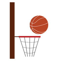 basketball net and ball depicting a game is in vector image