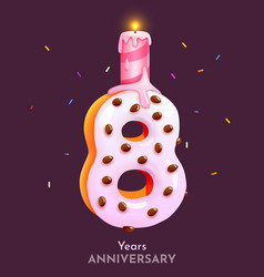 birthday cake font number 8 with candle eight vector image