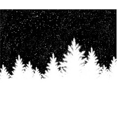 black and white christmas trees landscape vector image