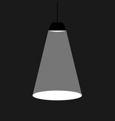 black ceiling lamp in a flat design a ray of light vector image