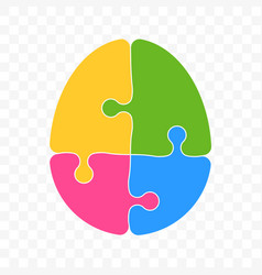 brain puzzle logo for smart logic mind idea vector image