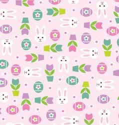Bunnies eggs tulips vector