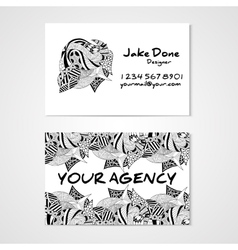 Business card template whit hand drawn ornament vector image