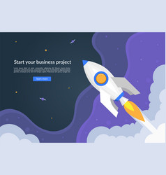 business start up concept with launching rocket vector image
