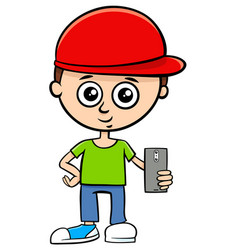 Cartoon boy character with smart phone vector