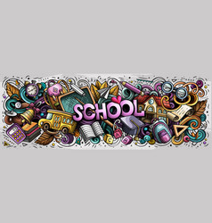 cartoon cute doodles school word colorful vector image