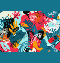 Colorful seamless pattern with tropical vector