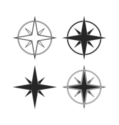 Compass icons isolated on white background vector image