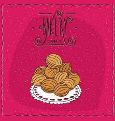 Cookies in the form of walnuts on a lacy napkin vector