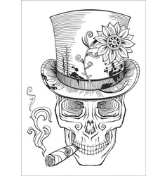 cool looking skull in top hat smoking cigar vector image