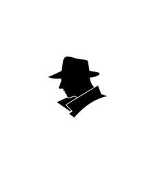 Creative black head detective logo vector