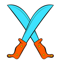 Crossed machetes icon cartoon vector