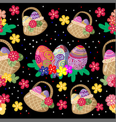 cute bunny and easter eggs seamless pattern with vector image