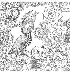 Cute cockatoo in fantasy flowers vector