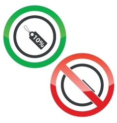Dicount permission signs vector image
