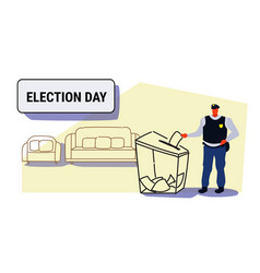election day concept policeman voter putting paper vector image