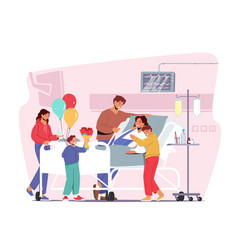 family characters visit mother in hospital sick vector image