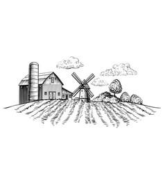 Farm barn and windmill on agricultural field vector