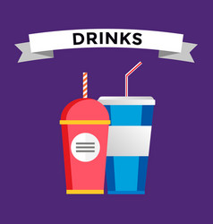 Fast food drinks pack set vector image