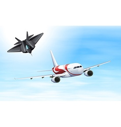 Fighting jet and airplane flying in sky vector image