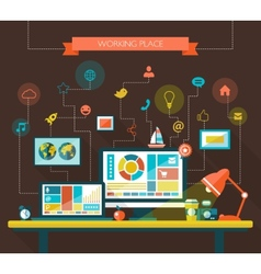flat design composition with work place vector image