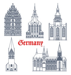 Germany landmark architecture cathedrals icons vector