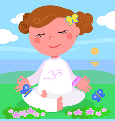Girl in meditaion pose vector