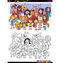 girls characters group coloring book vector image