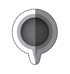 grayscale sticker of circular speech with tail vector image