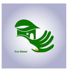 Green eco house in hand vector image