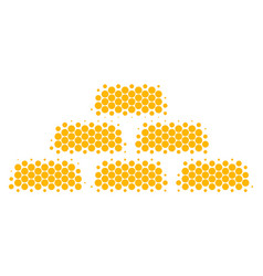 Halftone dot treasure bricks icon vector