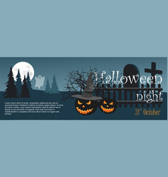 halloween pumpkin and ghost on night cemetery vector image