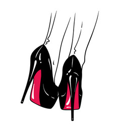 Hand drawn female legs in high heels vector