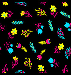 hand drawn pattern with summer flowers and herbs vector image