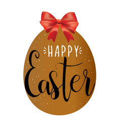 happy easter hand lettering in the egg with bow vector image