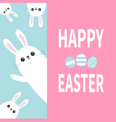 Happy easter white bunny rabbit family holding vector